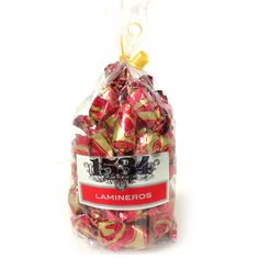 Típico de Aragón: Lamineros o Guirlache de almendra bañado en chocolate extrafino (Bolsa de 250 gr.) Imagen con enlace directo a nuestra tienda online.