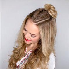 Cute braided bun hair tutorial video - Easy hairstyles for long hair - Cute Bun Hairstyles, Easy Hairstyles For Long Hair, Braided Hairstyles, Hairstyles Videos, Long Hair Buns, Easy Hair Braids, Hairstyles For Medium Length Hair Easy, School Hairstyles For Teens, Hair Tutorials For Medium Hair
