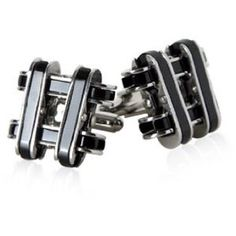 Industrial Chain-Link Black Enamel Stainless Steel Cufflinks from Amazon