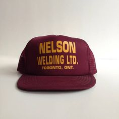 7a6fb9fa5c1 1970s burgundy advertising snapback. Bold burgundy with mustard yellow  font. Company hat Nelson Welding
