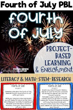 These Fourth of July themed project-based learning and enrichment projects put ownerhsip of learning into your student's hands and enrich your students through independent work study. Engage your classroom during your Fourth of July unit with these ten pr