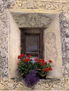 Architectural Detail and House Window, Guarda, Switzerland  ~ by Gavriel Jecan