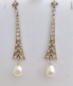 Belle Epoque Style Long Drop Silver Paste Pearl Earrings | eBay