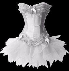 MUKA Burlesque Corset And Petticoat, White Halloween Costume