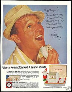 Bing Crosby uses Remington Roll-A-Matic shaver in 1959