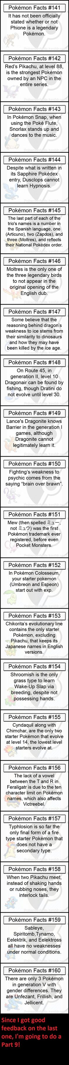 Cool and surprising Poke'mon facts.