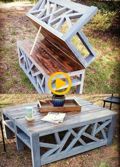 DIY Outdoor Furniture – Outdoor Convertible Coffee Table and Bench – Cheap and E… - DIY Möbel Diy Outdoor Furniture, Pallet Furniture, Furniture Projects, Outdoor Decor, Rustic Furniture, Antique Furniture, Industrial Furniture, Modern Furniture, Furniture Stores