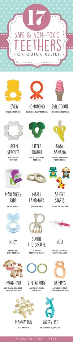 17 Best Non-Toxic Teething Toys For Lightning-Quick Relief A list of the best teethers for babies! Full of options for non-toxic, natural and safe teethers that are sure to relieve baby's teething pains quickly and efficiently. Baby Teething Remedies, Teething Symptoms, Teething Relief, Teething Stages, Best Teething Toys, Teething Gel, Teething Babies, Toddler Toys, Baby Toys