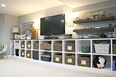 Browse photos of Basement Rec Room. Find ideas and inspiration for Basement Rec Room to add to your own home. See more ideas about Game room basement, Game room and Finished basement bars. Garage Playroom, Playroom Storage, Playroom Design, Basement Storage, Wall Storage, Wall Shelves, Garage Storage, Bedroom Storage, Boys Playroom Ideas