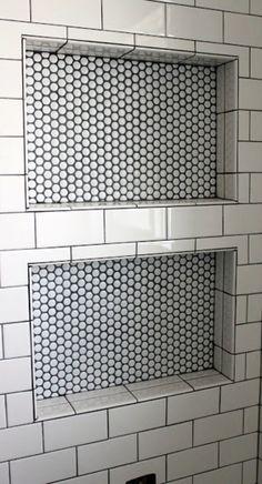 Inset bathroom shelves metro / honeycomb tiles