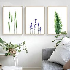 $4.74 - Watercolor Plants Leaves Flower Canvas Poster Prints Pictures For Living Room #ebay #Home & Garden
