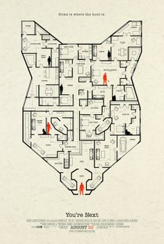 You're Next stormed Comic-Con and released a poster in the process. The You're Next poster features a layout of the house at the center. Horror Movie Posters, Best Movie Posters, Movie Poster Art, New Poster, Cool Posters, Horror Movies, Scary Movies, Cult Movies, Image Internet