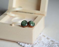 Green stud earrings wooden studs posts wood post by MyPieceOfWood