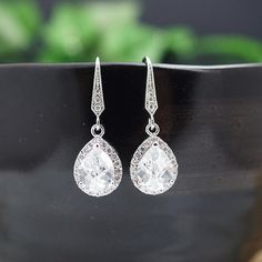 Wedding Jewelry Bridal Jewelry Bridal Earrings Bridesmaid Earrings Lux Cubic Zirconia Tear drop Dangle Earrings Bridesmaid gift