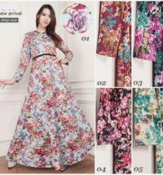 baju gamis misby motif bunga g1113 murah edisi
