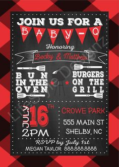 Baby-Q, Baby BBQ, Baby Shower Invitation, Summer Party, Bun in the Oven, Burgers on the Grill