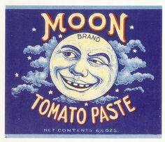 Vintage label Moon Tomato Paste