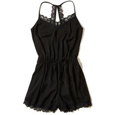 Hollister Lace-Trim Satin Romper (€38) ❤ liked on Polyvore featuring jumpsuits, rompers, black, playsuit romper, satin rompers, v neck romper and satin romper