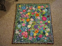 Captivating The Second Of 3 Mixed Media Locker Hooked Plus Latch Hooked Rug, Made Of  Yarn