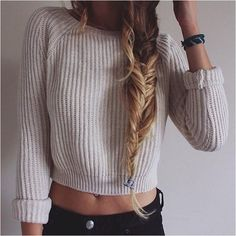 Round neck long-sleeved knit sweater, - why not visit our site for more inspirational tattoo ideas? Oversized Sweater Outfit, Sweater Outfits, Girl Outfits, Fashion Outfits, Stylish Outfits, Brazilian Hair Bundles, Photo Colour, Color, Best Sleeve Tattoos