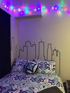 "Skyline ""headboard"" out of washi tape"