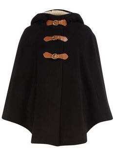 Black shearling hooded cape