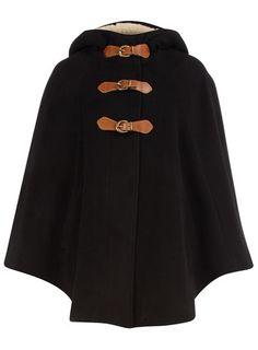 Black shearling hooded cape