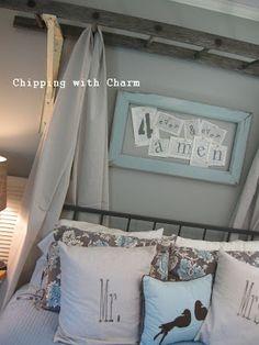 : DIY Bedroom Furniture: Vintage Ladder Bed Canopy - vintage ladder canopy–I . - : DIY Bedroom Furniture: Vintage Ladder Bed Canopy – vintage ladder canopy–I might rework the - Home Bedroom, Bedroom Furniture, Bedroom Decor, Canopy Bedroom, Bedroom Ideas, Kids Furniture, Master Bedroom, Bedrooms, Canopy Frame