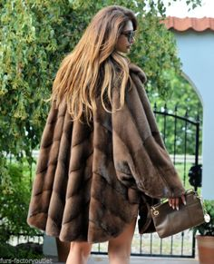 New 2016 brown royal saga mink fur swinger coat poncho class of sable fox  jacket 661ba7f6425