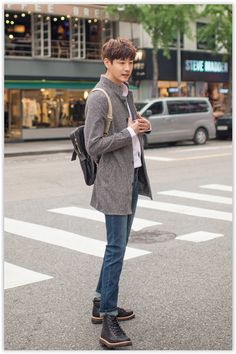 Stand-Collar #Mélange Coat #menfashion #koreanfashion