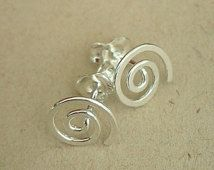 Sprial Earrings Stud Style Handmade with Sterling Silver