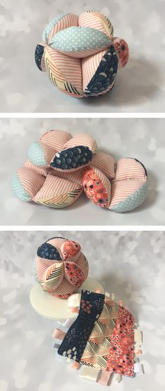 Tag Blanket and Puzzle Ball Set, Montessori ball, easy grab ball, cotton puzzle ball, tag blanket, taggie, baby shower gift set