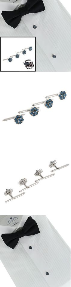 Other Mens Jewelry 177770: Vintage Mens Shirt Studs Stud Silver Tone Flower Sapphire Blue Rhinestone Set 4 -> BUY IT NOW ONLY: $51.95 on eBay!