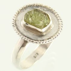 Natural GREEN TOURMALINE Gemstone 925 Sterling Silver Ring Size US 8.75 Exporter #Unbranded
