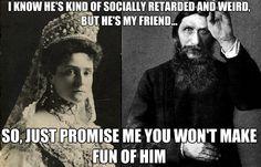 Tsarina Alexandra and Rasputin    Thanks tohttp://merrylittlegoldenage.tumblr.com/for the idea!! :)
