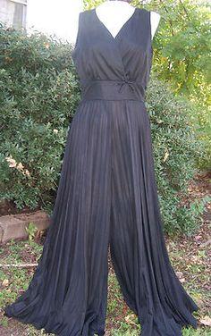 Vtg vintage Palazzo pants jumpsuit dress black disco 70s 60s mr. sergio bell bottom sexy | eBay