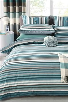 Buy Teal Stripe 2 Pack Bed Set from the Next UK online shop