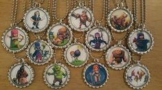 Set of 14 CLASH OF CLANS Flat Bottlecap Necklaces! Fast Shipping!!