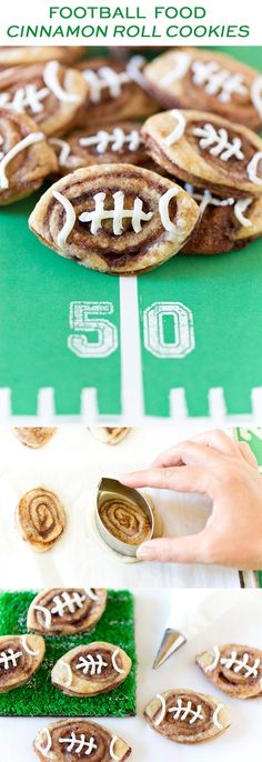 Up your tailgate treat game by making these addictive football cinnamon roll cookies! So easy and so delicious! Up your tailgate treat game by making these addictive football cinnamon roll cookies! So easy and so delicious! Football Desserts, Football Treats, Football Cookies, Football Tailgate, Football Food, Football Season, Tailgate Desserts, Football Recipes, Football Parties