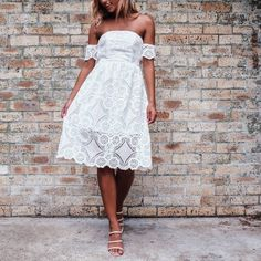 For the lovers of lace   MARCH dress $60 xx WWW.MISHKAH.COM.AU #mishkah #white #lace #offtheshoulder #new #shop