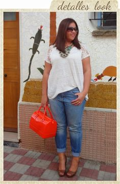 Naranja Koi Look http://vistetequevienencurvas.blogspot.com.es/2013/09/naranja-koi-look.html Jeans Plus Size Bag Koi Orange Necklace