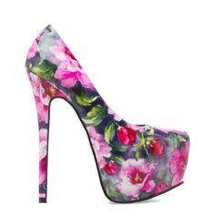 Tissa- Faux-patent floral-print platform pump with almond toe