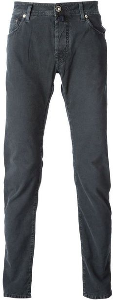 $177, Charcoal Skinny Jeans: Slim Fit Jeans by Jacob Cohen. Sold by farfetch.com. Click for more info: http://lookastic.com/men/shop_items/131452/redirect