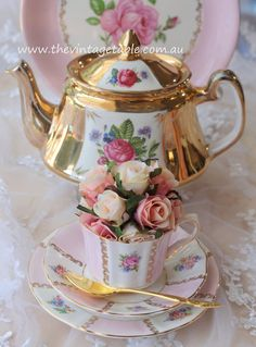 Gold & Pink Vintage Teapot & Trio