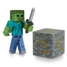Join the Hostile Mobs with the Minecraft Zombie Action Figure Pack. The articulated Minecraft Zombie 3 Inch Figure features an Iron Ore Block and Iron Sword. Collect all Series 1 Minecraft action figures. Minecraft Hama, Minecraft Zombie, Minecraft Video Games, Minecraft Party, Minecraft Stuff, Minecraft Cookies, Toys R Us, New Toys, Impression 3d