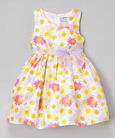 Yellow Daisy Shantung Dress - Infant, Toddler & Girls