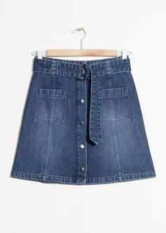 53347a08f4d Front image of Stories a-line denim mini skirt in blue Mini Skirts