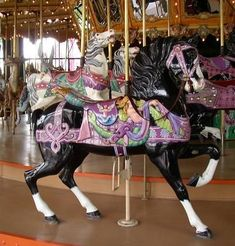 1904 Dentzel Menagerie Carousel Castle Amusement Park, Riverside, California Dentzel OSR Stander The Enchanted Carousel Horses Carrousel, All The Pretty Horses, Beautiful Horses, Carosel Horse, Wooden Horse, Painted Pony, Merry Go Round, Horse Art, Enchanted