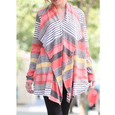 Mixed Stripe Color Block Cardigan 78% polyester 22% rayon Jackets & Coats