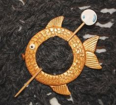 Shawl Pin Gold Fish Polymer Clay by WireDreamsDesign on Etsy, $10.00